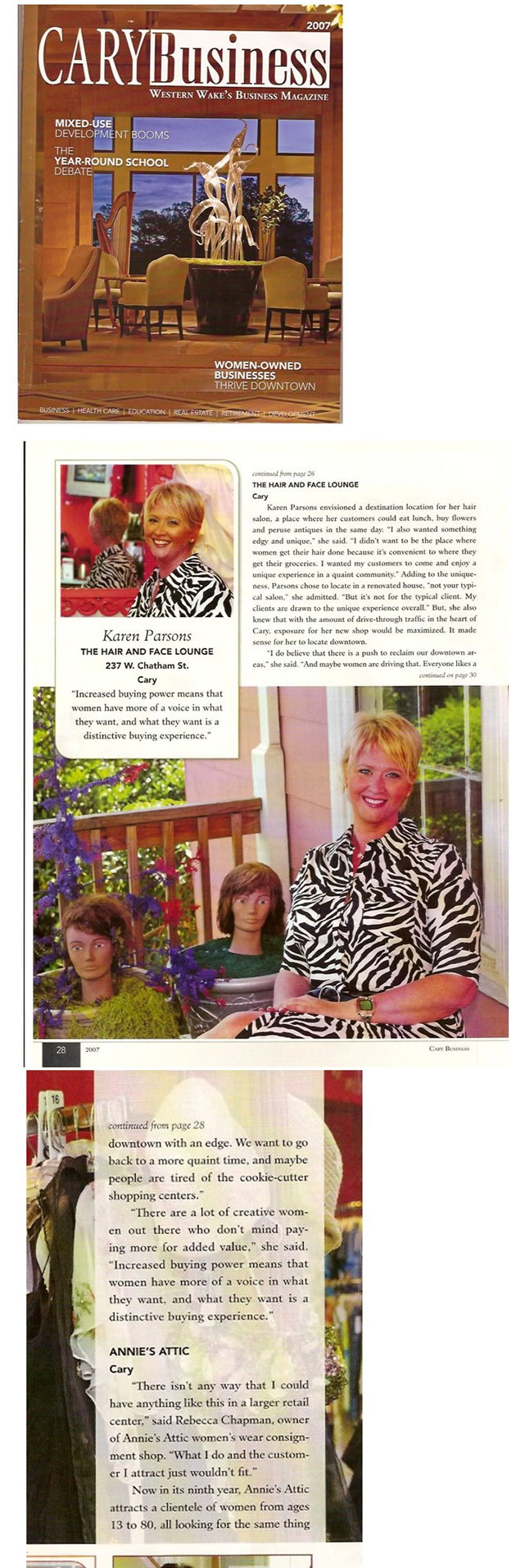 Cary Business Magazine article about the Hair and Face Lounge